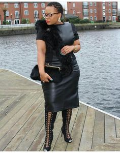 Women's leather is making a big impression in From leather dresses to small leather inserts, there are a variety … Thick Girl Fashion, Plus Size Fashion For Women, Black Women Fashion, Womens Fashion, Diva Fashion, Curvy Fashion, Fashion Outfits, Fashion Edgy, Cheap Fashion