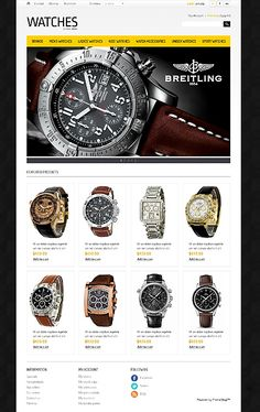 PrestaShop Theme for Watches Store Website Sport Watches, Watches For Men, Fashion Website Design, Free Website Templates, Brand Fonts, Landing Page Design, Web Design Inspiration, Watch Brands, Design Web