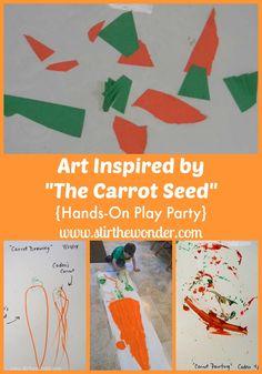 Art Inspired by The Carrot Seed | Stir The Wonder #bfiar #handsonplay #preschoolart