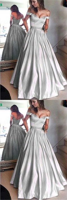 Silver Satin Off Shoulder A-line Prom Dresses, Zip Up Beaded Long Prom Dresses,PD190414