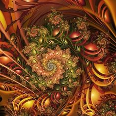 Fractal art pinks greens and browns