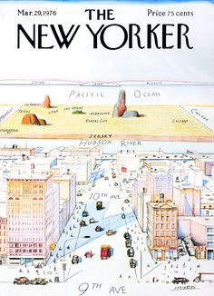 """A New Yorker's view of the world. [[MORE]] TMWNN: """" By Saul Steinberg, """"View of the World from Avenue"""" is probably the most famous cover of The New Yorker magazine in its history, immortalized on. The New Yorker, New Yorker Covers, Saul Steinberg, New Yorker Cartoons, Capas New Yorker, Magazin Covers, Apple Maps, Anderson Cooper, Jfk Jr"""