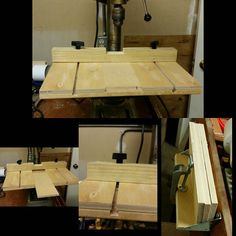 So here is the drill press table I ended up with.  I'm sure I will make modifications but it's a good start.  I made my own T-track with a couple different widths of dado cuts sized for a hex bolt so the fence is adjustable forward and back.  The center piece of wood is a sacrifice piece that can be removed once it's drilled into too much.  I made several extras that I attached to a little shelf on the back of the workbench.  Is not pretty  but is going to be super useful and it's a really…