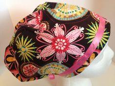 scrub surgical hat floral on brown-adjustable elastic w/cord lock medical cotton #CarolsCreations