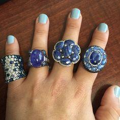 Gorgeous blue sapphires & diamonds. Stunning rings will brighten up anyone's day. #burdeensjewelry #chicago #buffalogrove #jewelry #diamonds   #sapphires #bluesapphires  #sparkle #classy #gorgeous #fashion #bling #stones #thebillionairesclub #thegoodlife #luxurylife #style #hautejewels #instajewelry  #forsale #millionaire_lifestyle #statement