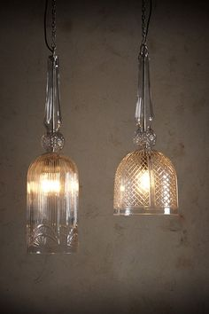 Beautiful and delicate, the Wexford and Chalice lights are hand crafted with diamond cutting to bring out the elegant designs.<br>Available in two styles:  Wexford: (left)  Chalice: (right)