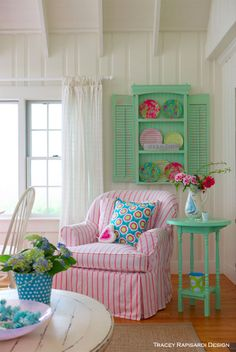 Vintage Shutters, Pink Plates, Living room decor, Stripped Cotton, Turquoise Decor, Turquoise, Coastal Colors, Beach House, Sarasota Interior Design, Interior Design, Sarasota FL, Beach Style, Cottage Style, Beach House, Beach Style, Shore, Ocean Style, Beach