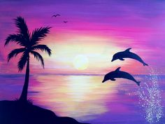 Sunrise Drawing Oil Painting Pictures Pictures To Paint Easy Watercolor Watercolor Paintings Silhouette Painting Dolphin Drawing Dolphin Painting Easy Drawings Cute Canvas Paintings, Oil Pastel Paintings, Oil Pastel Art, Oil Pastel Drawings, Easy Canvas Painting, Simple Acrylic Paintings, Canvas Art, Painting Art, Dolphin Painting