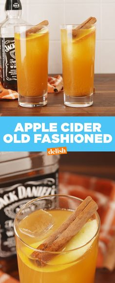 If you love whiskey, you need to make this at you Thanksgiving get together. Get the recipe at Delish.com. #booze #whiskey #cinnamon #apple #cocktail #alcohol #cocktailrecipes