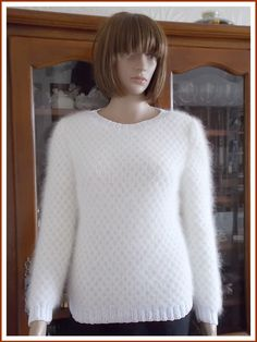 Short sleeves and neckline round, knitted women sweater hand point alveoli wire double alpaca and silk Brushed Alpaca Silk plain Colour DROPS color Heather, side edges. Pull Angora, Pulls, Female Models, Hand Knitting, Creations, Sweaters For Women, Turtle Neck, Wool, Silk