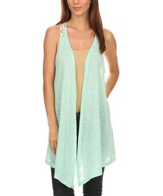 Loving this Mint Crochet-Panel Asymmetrical Vest - Plus Too on #zulily! #zulilyfinds