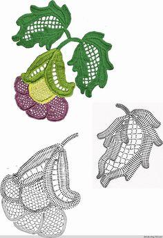 crochet flowers and leaves (Irish lace) (Crochet) Irish Crochet Charts, Irish Crochet Patterns, Crochet Motifs, Freeform Crochet, Crochet Diagram, Crochet Designs, Crochet Leaves, Crochet Flowers, Lace Flowers