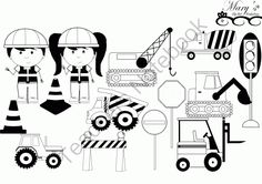 Under Construction Clip Art Set B&W from mzmary on TeachersNotebook.com -  (14 pages)  - Under Construction Clip Art Set B&W for posters and much more!
