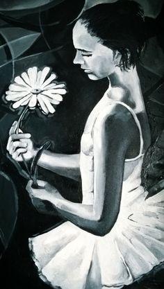 Baletnica z kwiatem. Obraz akrylowy na płótnie 50x70cm. Malarstwo impastowe. Obraz werniksowany, czarno-biały. #malarstwo_ekspresyjne #malarstwo_akrylowe #obraz_akrylowy #impast