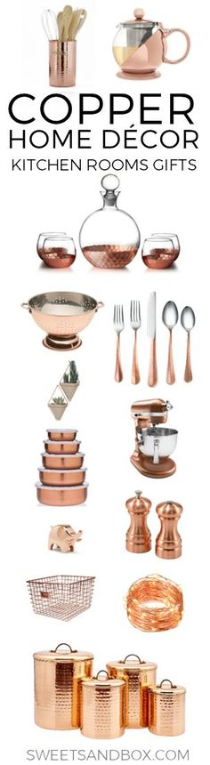 Copper Kitchen and Home Decor. Ideas for a copper bedroom accents or gift ideas. Interior design with copper decor.