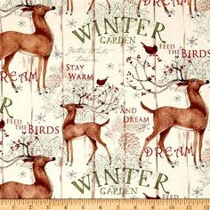 Cotton Quilt Fabric Christmas Winter Garden Coordinate Beige Deer Cardinal - product images of
