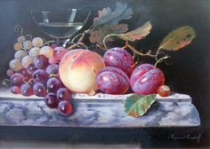 View Still life of fruit By Raymond Campbell; Access more artwork lots and estimated & realized auction prices on MutualArt. Fruit Painting, China Painting, Still Life Artists, Still Life Fruit, Paint Photography, Vintage Wine, Vintage Ideas, Dutch Painters, Painting Still Life