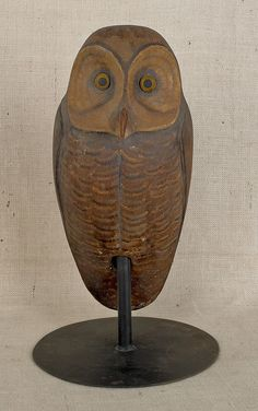 19th C. carved and painted owl
