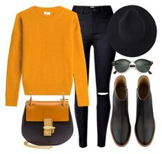 """""""Black & Orange"""" by monmondefou ❤ liked on Polyvore featuring Closed, A.P.C., Chloé, Ray-Ban, black and orange"""