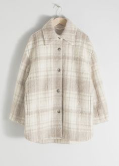 Oversized Wool Blend Plaid Overshirt - Plaid - Jackets - & Other Stories Outfits In Weiss, Komplette Outfits, Plaid Jacket, Plaid Blazer, Western Style, Burberry Trenchcoat, Heel Pumps, Swedish Fashion, Fashion Story