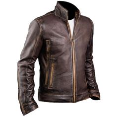Mens retro Cafe Racer moto Stylish Biker Brown Distressed Leather Jacket #byfashionpvt #BasicJacket