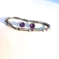 Vintage Jewelry Set 925 Sterling Silver Amethyst Rhinestone Bracelet And…