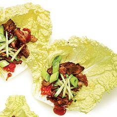 Sugar-Crusted Pork Cabbage Wraps | MyRecipes.com #myplate #protein #vegetable