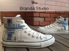 Star Wars R2D2 ShoesStudio Hand Painted Shoes High by Brandastudio, $52.99