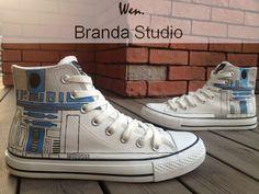 Star Wars R2D2 ShoesStudio Hand Painted Shoes High by Brandastudio, $52.99