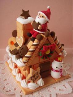 Gingerbread House Designs, Christmas Gingerbread House, Gingerbread Cake, Gingerbread Houses, Christmas Desserts, Christmas Treats, Christmas Baking, Christmas Cookies, Felt Cake