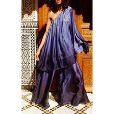 Smocked Wide Leg Pant | Moda Operandi (820 BRL) ❤ liked on Polyvore featuring pants, drapey pants, pleated pants, pleated trousers, purple pants and draped pants