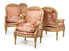 A set of four Louis XVI carved giltwood fauteuils circa 1775, stamped J. Nadal Estimate 50,000 — 80,000 USD