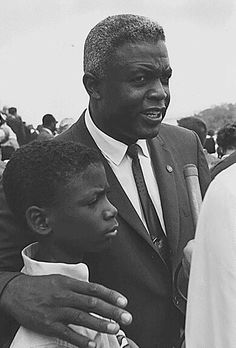 This is Jackie Robinson & son David at March on Washington 50 years ago