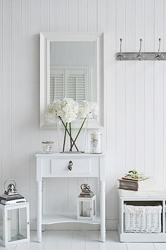 Large decorative silver wall mirror from The White Lighthouse large silver decorative wall mirror. Ideas and designs in furniture and accessories for decorating your white home from The White Lighthouse www. Hall Mirrors, Small Wall Mirrors, Silver Wall Mirror, Small Console Tables, White Console Table, Table Mirror, Small Hallway Table, Home Staging, Entrance Hall Decor