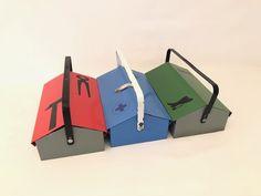 Blechboxen von Wilhelm Kienzle Hersteller MEWA Wädenswil Solide Boxen , seltenes 3er Set, SCHWEIZER Handwerk Crates, Swiss Guard, Boxing, Sheet Metal