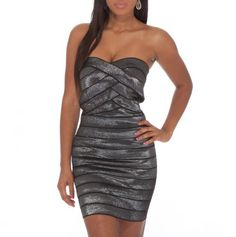 Strapless Banded Metallic Dress - charcoal ... another for the cruise