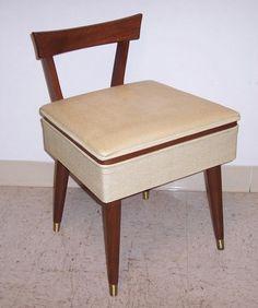 Vintage Mid Century Danish Modern Sewing/Vanity Stool Chair Wood Bench W  Storage