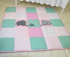 Baby girl play mat mint pink playmat floor by Customquiltsbyeva
