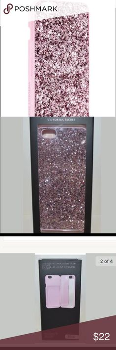New Victoria's Secret iPhone 6 phone case mirror Stunning!  Hard to find Victoria's Secret iPhone 6 phone case, mirror, and card holder.  Amazing PINK Glitter. Victoria's Secret Accessories Phone Cases