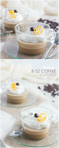 A lovely dessert for two that won't leave you feeling weighed down! These Low-Carb, Low-Fat Custards are infused with rich Coffee flavor and spiked with Kahlua, Bailey's, and Grand Marnier, for a Boozy, B-52 inspired after-dinner treat! ~ http://bakingamoment.com