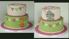cake babyshower roze mintgroen olifant, giraffe elephant pink green