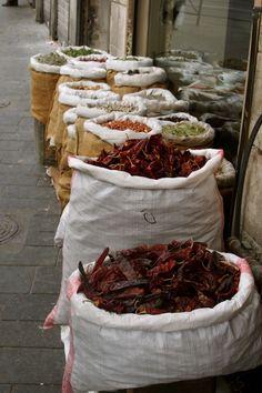 Dried herbs and spices at Mahane Yehuda Market, Jerusalem