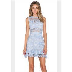 Lace Peplum Dress In Pale Blue