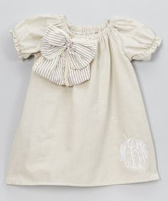 This White Puff-Sleeve Bow Monogram Dress - Infant, Toddler & Girls by Enchanted Fairyware Couture is perfect! #zulilyfinds