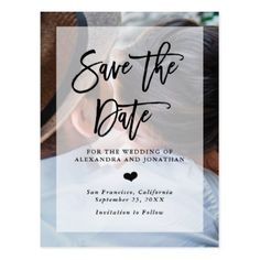 #simple - #Modern Wedding Save the Date | Photo with Overlay Postcard