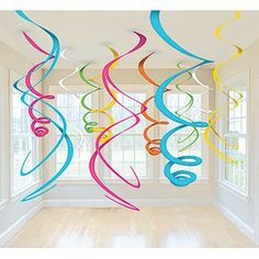 Cut giant swirls to hang from the ceiling for a birthday party! Make for adalynns bday party Cheap Party Decorations, Birthday Decorations, Hanging Decorations, Rainbow Decorations, Holiday Decorations, Festival Decorations, Fiestas Peppa Pig, Color Swirl, Spring Party