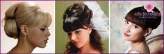 Svadobné účesy s priamymi údermi a závoj: možnosti foto