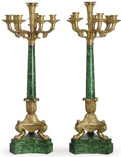 A PAIR OF FRENCH ORMOLU AND FAUX-MALACHITE SEVEN-LIGHT CANDELABRA  19TH   Each on a spreading support, with pawed tripartite feet on a further conforming plinth  30 in. (76 cm.) high (2)