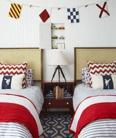 Ahoy nautical style...fun kids' bedroom for boys with vintage nautical accessories and bright red, white and blue colour palette and beach house style...Design Chic: In Good Taste: Anne Hepfer Design