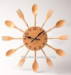 Kitchen Wooden Cutlery Wall Clock Sass & Belle Knife Fork Spoon Cooking Utensil